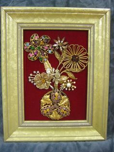 Framed Vintage Jewelry Art - 7X9 - Floral Bouquet on Red Velvet - OOAK #Surrealism