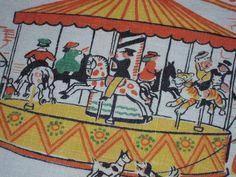 Vintage Tony Sarg Textile Fun on the Merry Go by unclebunkstrunk, $22.99
