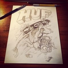 Original sketch for a Huf graphic; Ed Roth style. #sketch #illustration #bigdaddyroth #huf