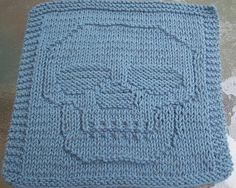 Just A Skull Knit Dishcloth by Lisa Millan | see more at knittingfornerds.com