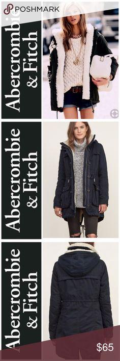 Abercrombie & Fitch Parka Sherpa Lined Coat XS Abercrombie & Fitch Navy Parka Sherpa Lined Coat XS Warm and comfortable parka with cozy sherpa lining, a silhouette with a longer length. Abercrombie & Fitch Jackets & Coats