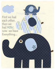 Baby boy, Nursery wall Decor, Children Art print, first we had, elephant, blue and white, match to the colors Harper bedding pottery barn