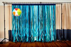 shabby blue fabric backdrop for wedding Shades of Blue Fabric Photo Booth Backdrop by thehighfivefactory with out the beach ball Beach Backdrop, Diy Wedding Backdrop, Fabric Backdrop, Diy Backdrop, Backdrops, Wedding Decor, Diy Photo Booth, Photo Booth Backdrop, Photo Booths