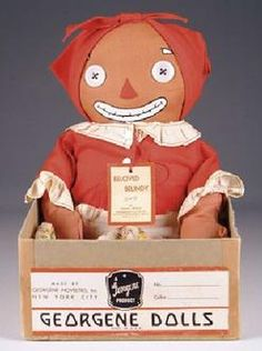 Beloved Belindy doll, from the Raggedy Ann and Andy line based on the childrens books by Johnny Gruelle, United States, 1936-40, by Georgene Novelties, Inc.