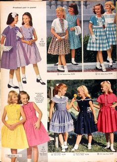 Girls clothing from the 1958 Spring/Summer Sears Catalog - My favorite children's fashion list Moda Vintage, 1950s Fashion, Kids Fashion, Vintage Fashion, Vintage Girls Dresses, Vintage Outfits, Retro Mode, Fashion History, Outfits For Teens