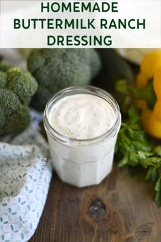 Homemade Buttermilk Ranch Dressing is cool, creamy and super easy to make with mayo, sour cream and a few other ingredients. Perfect for salads or dipping! Buttermilk Ranch Dressing, Ranch Dressing Recipe, Homemade Ranch Dressing, Salad Dressing Recipes, Salad Dressings, Sour Cream, Creamy Salad Dressing, Homemade Buttermilk, Best Appetizers