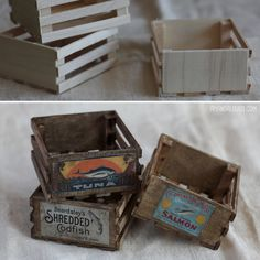 """Making miniature props is one of my favorite things to do. For """"Safe Harbor"""", we need a lot of nautical and wharf-related objects. Here are three miniature fish crates I made out of tiny popsicle..."""