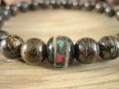 Mens Prayer Bead Bracelet Bronzite Bracelet for by MerkabaWarrior