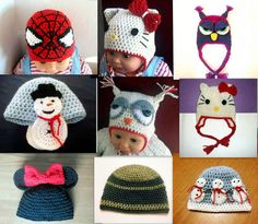 Crochet Hat Pattern for making Earflap and Beanie Hat, 7 sizes newborn to adult Love the snowman on the ears.....
