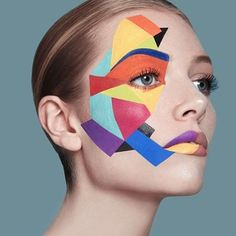 Geometric Face Paint - Make Up Pop Art Makeup, Face Paint Makeup, Geometric Face, Rave Makeup, Unique Makeup, Make Up Art, Special Effects Makeup, Aesthetic Makeup, Fantasy Makeup