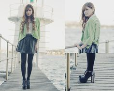 Skeletal Blazer, White Sheer Blouse, Leather Skirts With Studs, Opaque Tights, Jeffrey Campbell Foxy Spikes