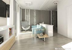 Kwadraton wizualizacja male mieszkanie salon w stylu skandynawskim Divider, Room, Led, Spaces, Furniture, Home Decor, Living Room, Bedroom, Decoration Home