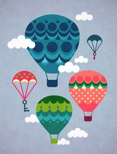 Hot air balloons by Duplodo Collective Balloon Illustration, Cute Illustration, Air Ballon, Hot Air Balloon, Balloon Rides, Illustrations Posters, Print Patterns, Art For Kids, Artsy