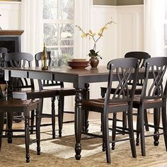 Homelegance Ohana 7 Piece Square Counter Height Set - Black & Cherry - Dining Table Sets at Hayneedle Dining Table Setting, Black Dining Table Set, Counter Height Dining Sets, Counter Height Dining Table, Dining Table In Kitchen, Dining Table, Table, Solid Wood Dining Table, Dining Table Black