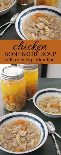 Chicken Soup with Canning Instructions Chicken bone broth is seriously so easy! And this recipe is delicious! Chicken bone broth soup with canning instructions, I'm doing this asap! Cheap Healthy Dinners, Frugal Meals, Easy Meals, Bone Broth Soup, Chicken Bones, Chicken Soup Recipes, Thing 1, Canning Recipes, Canning Soup