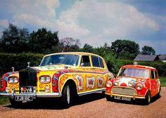 John Lennon's psychedelic Rolls Royce alongside George Harrison's Mini-Cooper.