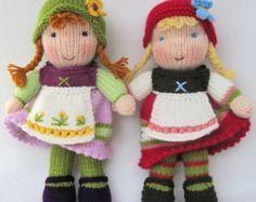 Lulu and little doll knitting pattern INSTANT por dollytime