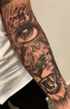 Half Sleeve Tattoos Forearm, Animal Sleeve Tattoo, Lion Tattoo Sleeves, Half Sleeve Tattoos For Guys, Forarm Tattoos, Cool Arm Tattoos, Best Sleeve Tattoos, Top Tattoos, Inside Bicep Tattoo