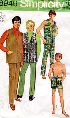 1960's Simplicity 8949 Teen Boys Hippie Lace Up Vest, Pants And Shorts Sewing Pattern, Size 18 & 20, UNCUT by DawnsDesignBoutique on Etsy