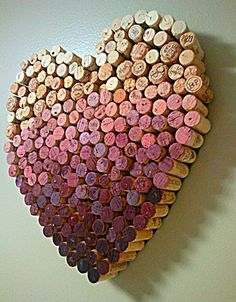 Save all wedding corks from your party and make a piece of wall art