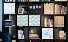 Bookcase with Swinging Canvas Doors – Beautiful!