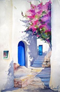 35 Easy Watercolor Landscape Painting Ideas To Try Watercolor Architecture, Watercolor Landscape Paintings, Watercolor Drawing, Watercolor Illustration, Painting & Drawing, Painting Abstract, Bird Paintings, Shadow Painting, Illustration Cat