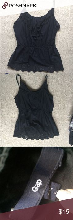 Black Tank Top Black tank top with lace design. Had adjustable straps. Soft and flowy. GAP Tops Tank Tops