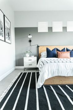 Treasure in the Detail is a modern interior design studio rooted in providing busy families and professionals with beautiful, livable spaces. Modern Master Bedroom, Master Bedrooms, Accent Walls, Grey Walls, Accent Wall Designs, White Side Tables, Interior Decorating, Interior Design, Wood Beds