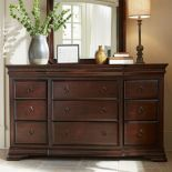 Customize your master bedroom with a beautiful Louis Philippe-style storage option thanks to the Pennsylvania House Reprise 9 Drawer Dresser . Cherry Wood Bedroom, Wooden Bedroom, Wood Bedroom Furniture, Farmhouse Furniture, Bedroom Decor, Master Bedroom, Light Wooden Floor, Room Wanted, 9 Drawer Dresser
