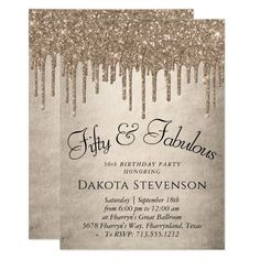 Gold 50 and Fabulous | Champagne Drip Fancy Script Invitation