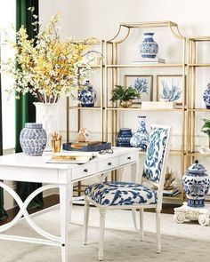 Blue and White (Chinoiserie Chic) is part of home Interior Blue - Ballard Designs A beautiful and bright home office in blue and white I love the emerald green curtains as well That green goes so well with blue and white Home Office Design, Home Office Decor, Office Desk, Office Designs, Office Lounge, Office Chic, Office Style, Asian Room, Ginger Jar Lamp