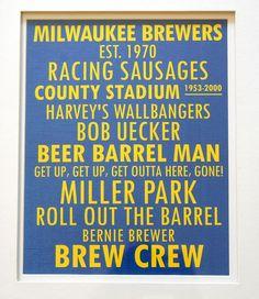 Milwaukee Brewers print, baseball print, cards