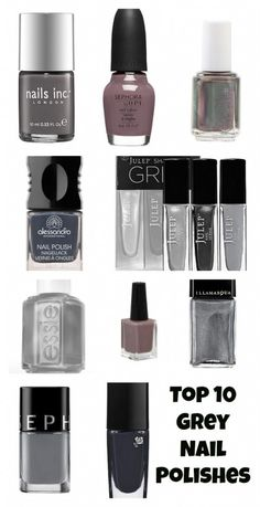 These are gorgeous...and now I need a manicure =) Top 10 Grey Nail Polishes For The Fall