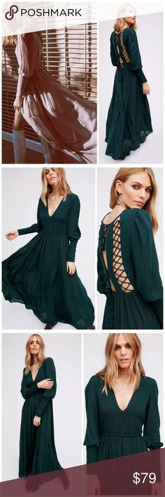 stunning! FREE PEOPLE Wednesday MAXI DRESS green S FREE PEOPLE Wednesday Maxi Dress  Color: Green only  $128 retail New without tag inner label marked perfect condition   Made from sheer & gauzy Endless Summer fabric this breezy long sleeve maxi dress with a lovely V-neckline features gorgeous lace-up back designs with tassel accents on the ties. Smocked details on the bodice and sleeve cuffs. Comfortable, flowy silhouette.   100% Rayon Hand Wash Cold Import Measurements for size Small Bust…