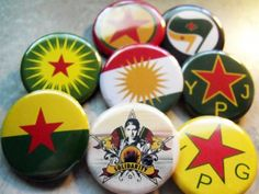 8 KURDISH RESISTANCE pinback buttons badges 1.25""