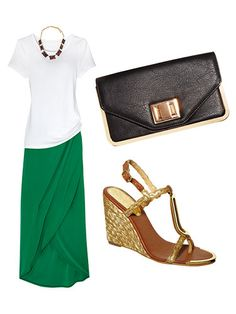 Pair your plain white tee with these accessories for a fun night out. Maxi Outfits, Fashion Outfits, How To Make Skirt, How To Wear, Stylish Outfits, Cute Outfits, Mommy Style, Casual Elegance, Casual Chic