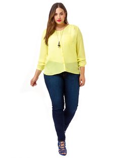 Britney Blouse In Pastel Yellow by @eloquii   Available in sizes 14-24