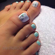 Pretty Toe Nails, Cute Toe Nails, My Nails, Jamberry Nails, Pastel Blue Nails, Toe Nail Color, Toe Nail Art, Nail Colors, Blue Nails