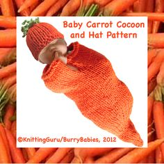 For #Easter - Carrot Baby Cocoon & Hat - Fast & Easy #Knitting