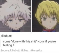 Killua and Kurapika😂 Me Anime, Girls Anime, Fanarts Anime, Manga Anime, Anime Art, Killua, Hisoka, Hunter X Hunter, Hunter Anime