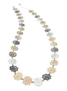 Mix gold black and silver snowflakes long statement by inbarshahak, $189.00