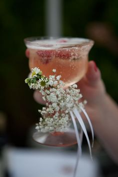 "Festive glass with baby's breath - from ""10 Ways to Use Baby's Breath"""