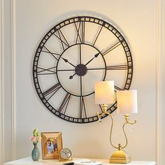 Oversized Tower Wall Clock (6,940 PHP) ❤ liked on Polyvore featuring home, home decor, clocks, black wall clock, oversized wall clock, bronze clock, mantel clocks and oversized clock