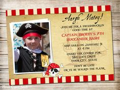 **USE coupon code PIN10 for 10% off!**  Pirate Birthday Invitation Pirate Invitation Pirate Party Pirate Birthday
