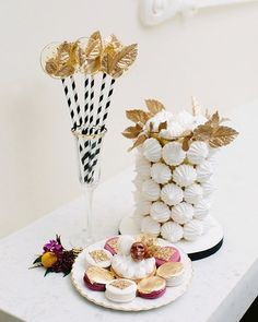Balmain inspired sweets and treats ✨. Gold leaf lollipops, gold leaf crowned meringue tower, baroque patterned & gold flake macarons and a lemon meringue tart adorned with @lauraslackchocolate's #DulceSkull by @sweet.philosophy. Photography @mangostudios | Creative direction & co-production @augustinbloom @maisonmaquette | Venue @paradisebanquethall.