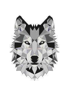 Wolf cubism tattoo