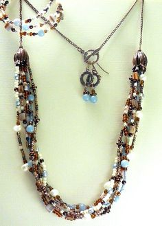 Brown, Ivory and Blue Three Piece Set 30""