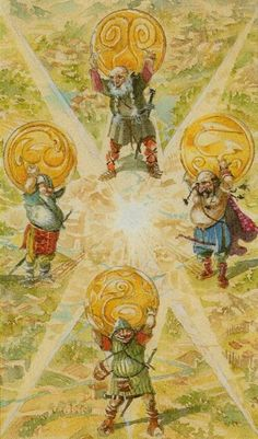 Four dwarves hold up Ymir's skull at the four cardinal points. Their names- Nordri, Sudri, Austri, Vestri- North, South, East, West.