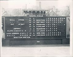 """Navin Field Scoreboard from Aug 2 1956 Boston wins Jackie Jensen goes 3 for 5 with a triple and a homer for a total of 9 RBI's. Willard Nixon wins his game and Bob Miller, one of the famous 1962 met Bob Miller's"""" takes the loss Baseball Scoreboard, Baseball Scores, Baseball Park, Sports Baseball, Tiger Stadium, Sports Stadium, Stadium Tour, Shea Stadium, Yankee Stadium"""