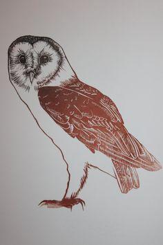 Barn Owl - a limited edition linocut print